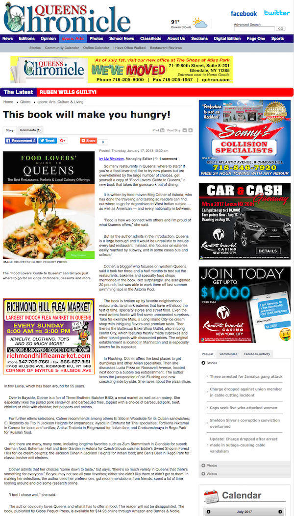 Food lovers guide to queens interviews and press meg cotner this book will make you hungry queens forumfinder Gallery